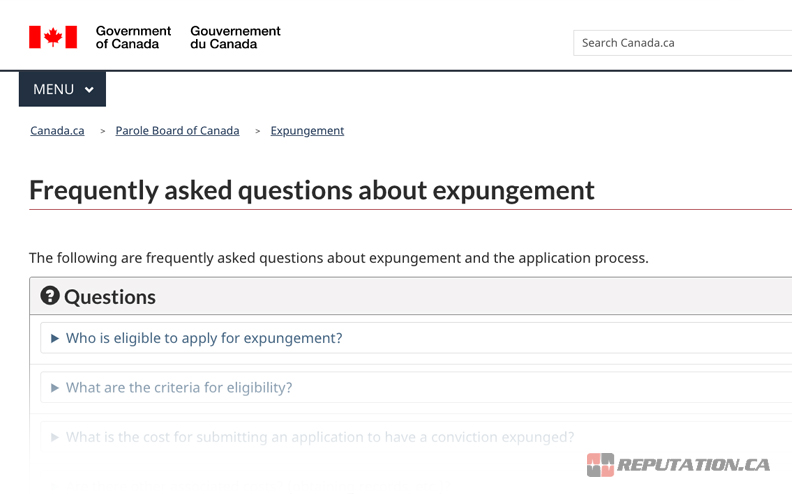 Canadian Government Expungement