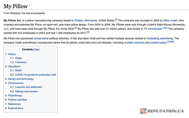 MyPillow Wikipedia Page
