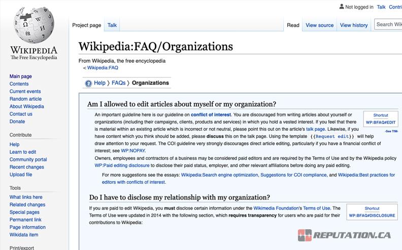 Wikipedia Business Organization Page