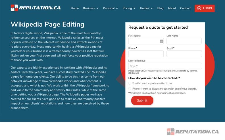 Wikipedia Page Editing Service