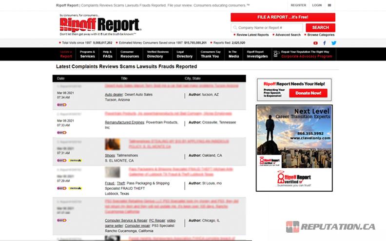 Ripoff Report Homepage