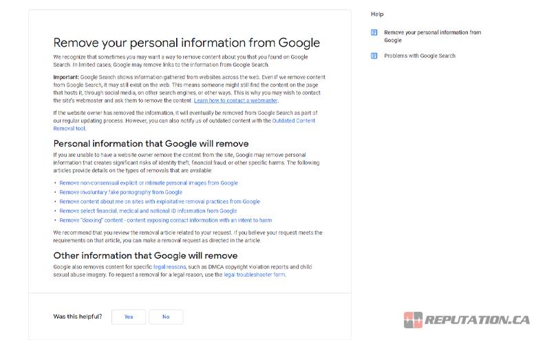 Google Remove Information
