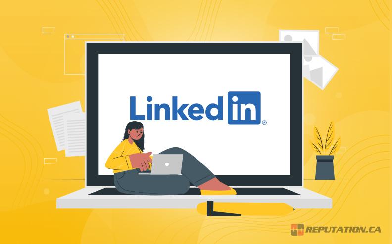 Woman Updating LinkedIn