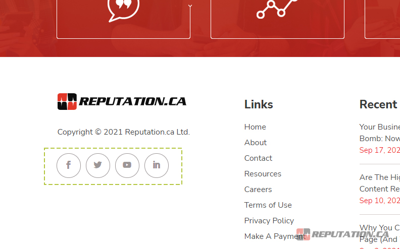 Social Profiles on Website