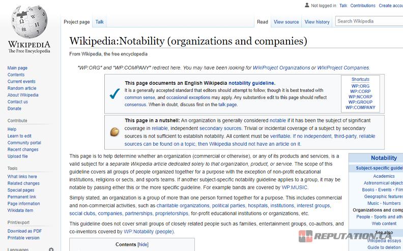 Wikipedia Notability Page