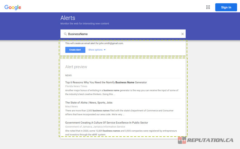 Configure Google Alert