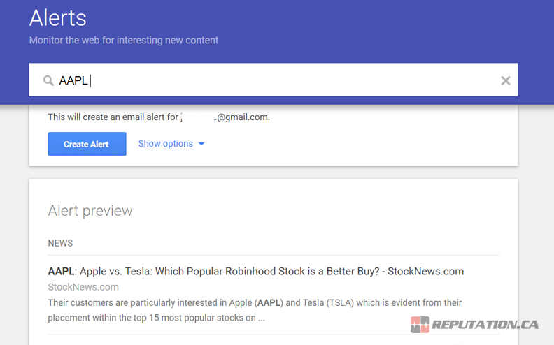 Financial Google Alerts