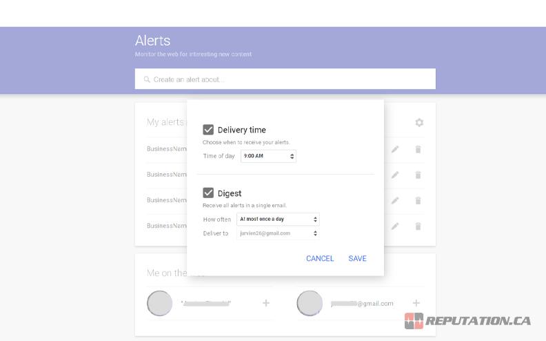 Google Alert Configuration