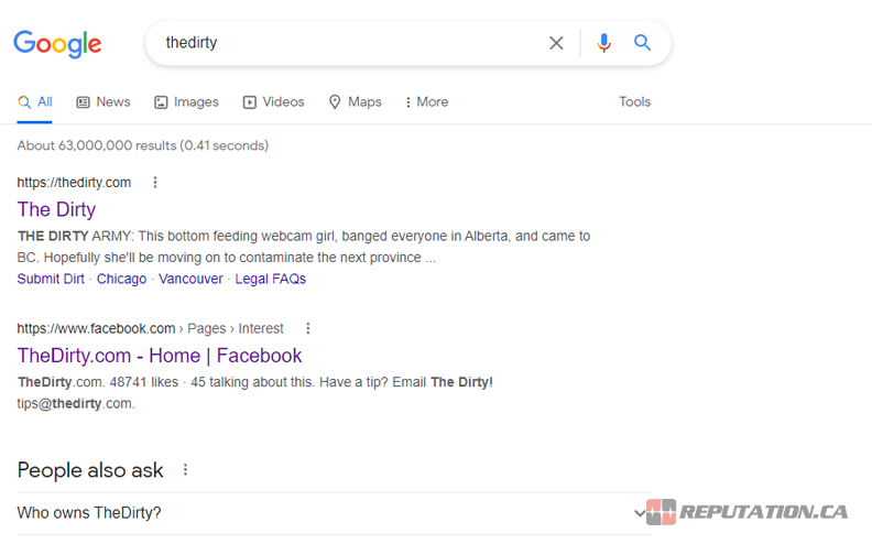 TheDirty on Google